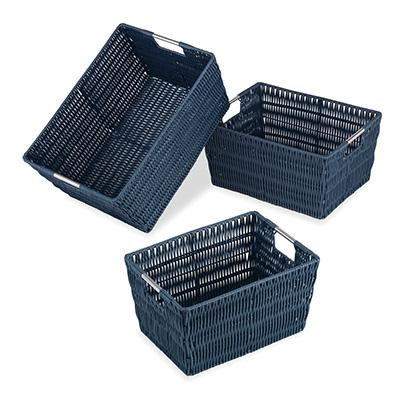 Rattique Basket Set of 3 Navy