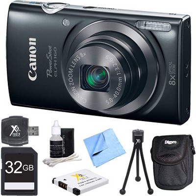 PowerShot ELPH 160 20MP 8x Opt Zoom HD Digital Camera - Black 32GB Bundle