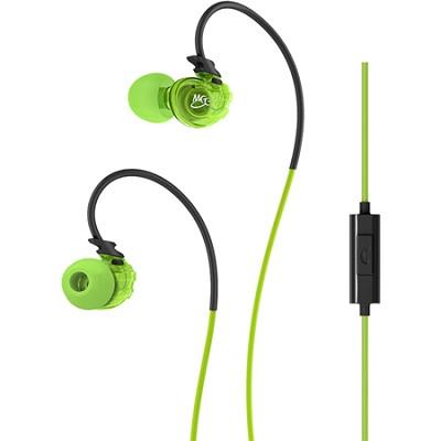 Sport-Fi M3P In-Ear Headphones w/ Memory Wire, Inline Microphone, Remote - Green