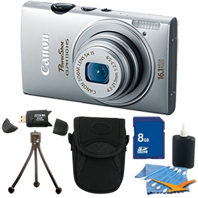 PowerShot ELPH 110 HS 16.1MP Silver Digital Camera 5x Zoom HD Video 8 GB Bundle