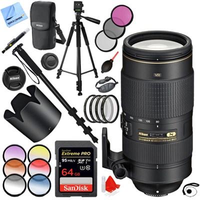 AF-S NIKKOR 80-400mm f.4.5-5.6G ED VR Lens + 64GB + 77mm Filters Kit
