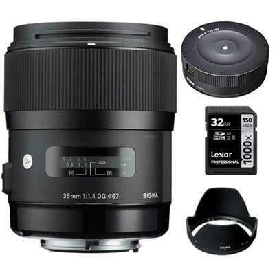 Art 35mm F/1.4 DG DG HSM Wide-Angle Lens for Sigma with USB Dock Bundle