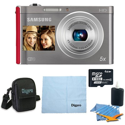 4 GB Bundle DV300F 16 MP 5X Wi-Fi Digital Camera - Silver/Red
