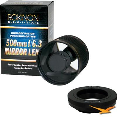 500mm F6.3 Mirror Lens for Canon EOS (Black Body) - ED500M-B + T2-EOS