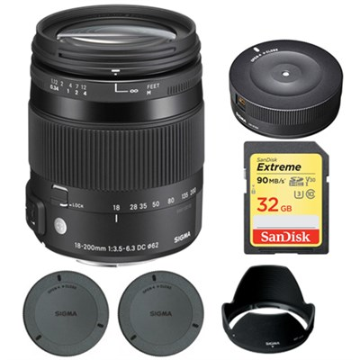 18-200mm F3.5-6.3 DC Macro OS HSM Lens for Canon EOS with USB Dock Bundle