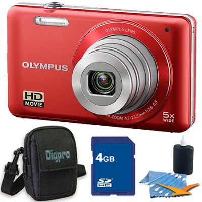 VG-120 14MP 5x Opt Zoom 3-inch LCD Digital Camera Red 4GB Kit