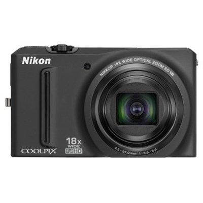 COOLPIX S9100 12MP Black Digital Camera 18x Optical Zoom (Certified Refurbished)