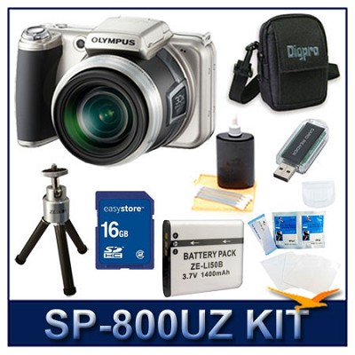 SP-800UZ 14 Megapixel 30x Zoom Digital Camera w/ 16 GB Memory Kit