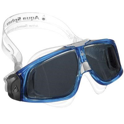Aqua Sphere Seal Swim Mask Goggle with Smoke Lens and Trans/Blue Frame - 175170