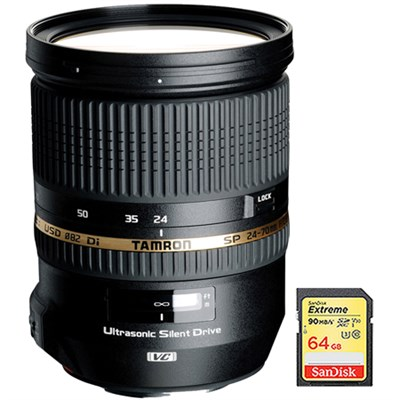 SP 24-70mm f2.8 Di VC USD Lens f/ Canon EOS Mount AFA007C-700 w/64GB Memory Card