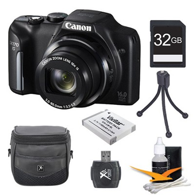 PowerShot SX170 IS 16MP Digital Camera 32GB Kit