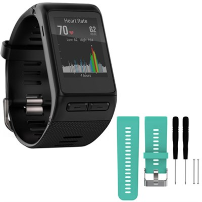 vivoactive HR GPS Smartwatch  XL Fit - Black w/ Silicone Band Strap + Tools Teal