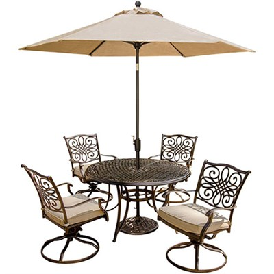 Traditions 5 Piece Dining Set with Swivel Chair and Umbrella- TRADITIONS5PCSW-SU