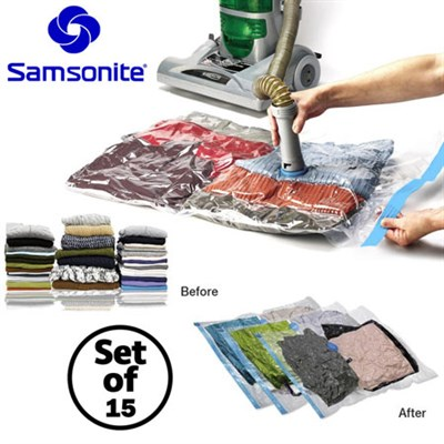15 Piece Vacuum Storage Bag Set Compress Protect Organize Clothes Bedding