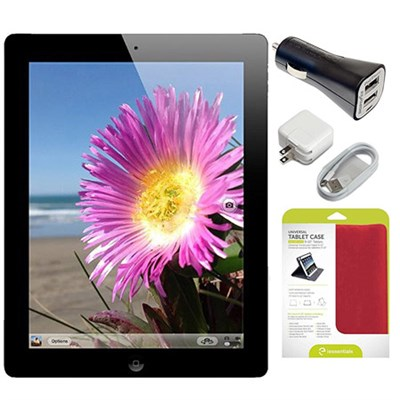 MD510LL/A iPad 4 16GB WiFi with Car Charger + Case Bundle - Black (Refurbished)