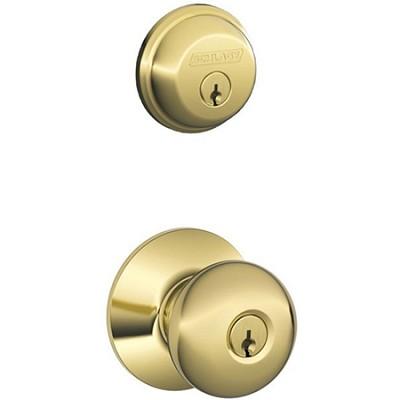 Keyed Plymouth Knob w/ Single Cylinder Deadbolt (Brass Finish)