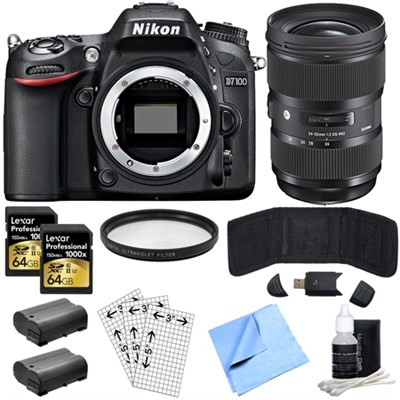 D7100 DX-Format HD-DSLR Body w/3.2`LCD Monitor & Sigma 24-35mm Lens Power Bundle