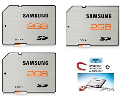 SD High Speed 2GB Waterproof and Shockproof Memory Card 3 Pack