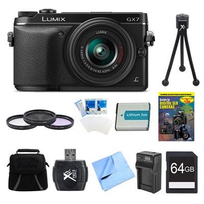 LUMIX DMC-GX7 DSLM Black Camera with 14-42 II Lens 64GB Bundle