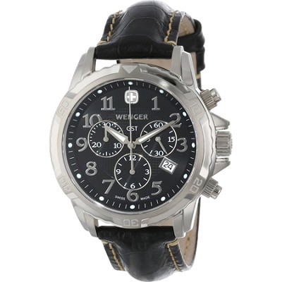 Men's GST Chrono Watch - Black Dial/Black Leather Strap