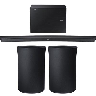 4.1 Channel Curved Wireless Soundbar w/ 2x Radiant 360 R1 Bluetooth Speaker