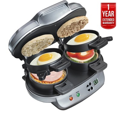 25490 Dual Breakfast Sandwich Maker + 1 Year Extended Warranty - Refurbished