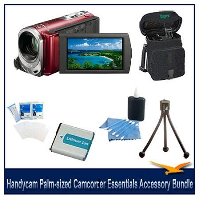 Handycam DCR-SX44 Palm-sized Red Camcorder Essentials Accessory Bundle
