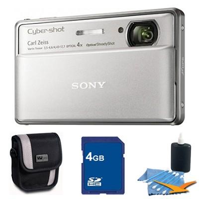 Cyber-shot DSC-TX100V Silver Digital Camera 4GB bundle