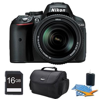 D5300 DX-Format 24.2MP DSLR Camera 18-140mm Kit Lens (Black) 16 GB Memory Bundle