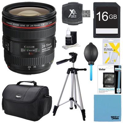 EF 24-70mm F/4L IS USM Standard Zoom Pro Lens Bundle