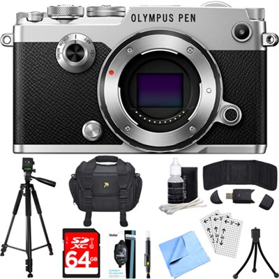 PEN-F 20MP Mirrorless Micro Four Thirds Digital Camera (Silver) Accessory Bundle