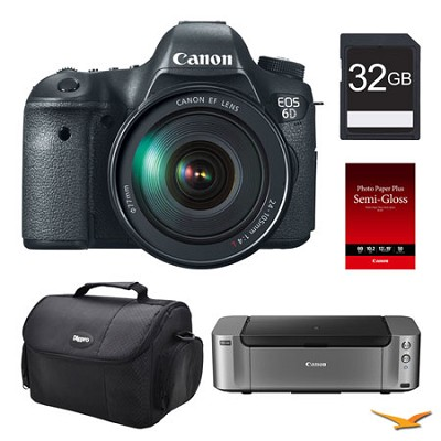 EOS 6D DSLR Camera 24-105mm Lens, 32GB, Printer Bundle
