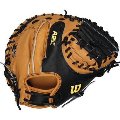 A2K Baseball Catcher Mitt, Right Hand Throw, 32.5-Inch - Tan/Black