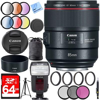 85mm f/1.4L IS USM Fixed Prime DSLR Camera Lens + 64GB Filters Set Kit