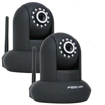 2 pack FI9821W v2 1.0 Megapixel (1280x720p) H.264 Wireless IP Camera - Black