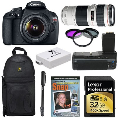 EOS Rebel T5 SLR Digital Camera Sports Photographer Bundle