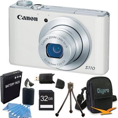 PowerShot S110 White Compact High Performance Camera 32GB Bundle