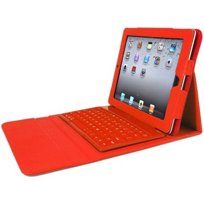 Faux Leather Case with Built-in Bluetooth Keyboard for iPad 2, 3, & 4 - Red