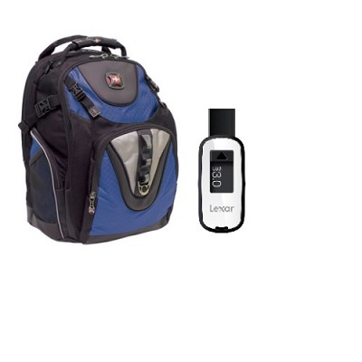 SwissGear Maxxum Laptop Computer Backpack + Lexar 32GB USB 3.0 Flash Drive