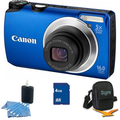PowerShot A3300 IS 16MP Blue Digital Camera 4GB Bundle