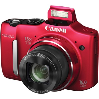 Powershot SX160 IS 16MP 16x Zoom Red Digital Camera w/ 720p HD Video