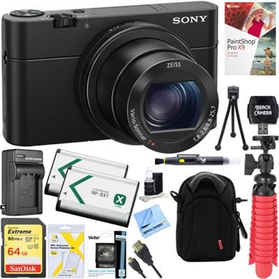 RX100M IV Cybershot Digital 20.1MP Camera + 64GB Dual Battery Accessory Kit