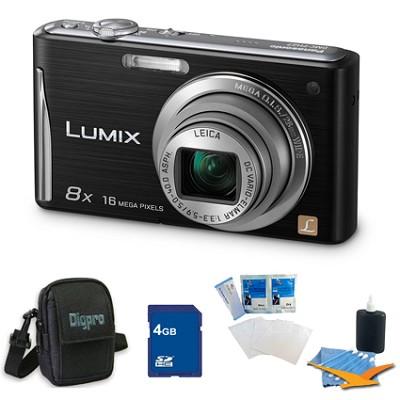 Lumix DMC-FH27 16MP 8x Zoom Black Digital Camera w/ 3.0` Touchscreen 4GB Bundle