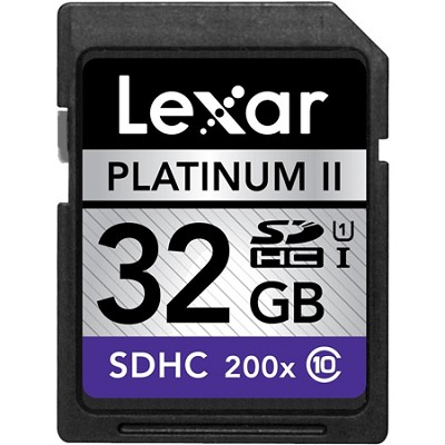 32GB Platinum II SD/SDHC 200x Memory Card (LSD32GBSBNA200)