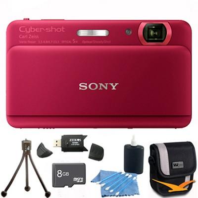 Cyber-shot DSC-TX55 Red Slim Digital Camera 3.3` OLED Touchscreen w/ 8GB Kit