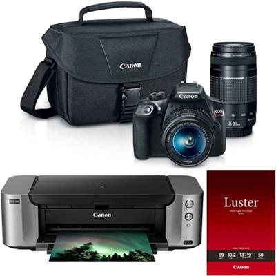 EOS Rebel T6 18MP DSLR Camera with 18-55mm + 75-300mm Lenses + Pro 100 Printer
