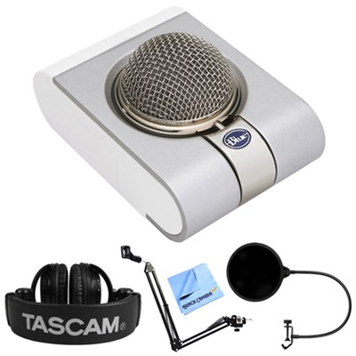 Snowflake Portable USB Microphone + Tascam Headphone Bundle