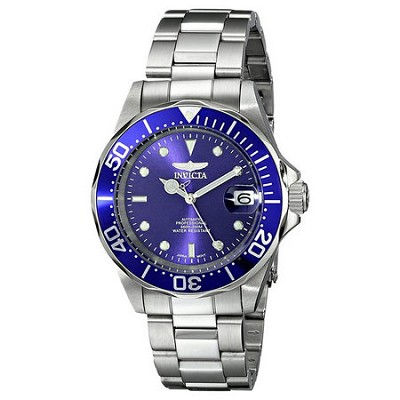 Men's Pro Diver Stainless Steel Automatic Watch w/ Link Bracelet, Blue Dial 9094