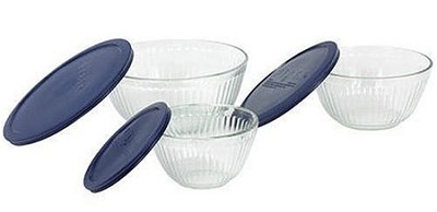 Prepware Sculptured 6-Piece Serving Bowl Set, Clear with Blue Lids
