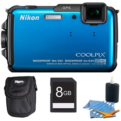 COOLPIX AW110 16MP Water/Shock/Freezeproof Blue Digital Camera Plus 8 GB Kit